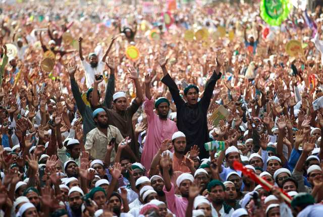 File photo of activists of Islami Andolan Bangladesh shouting slogans as they take part in a grand rally in Dhaka