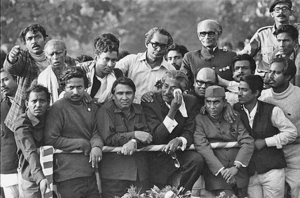 Dhaka 1972 - Founding father Bangabandhu Sheikh Mujibur Rahman holding kerchief weeps upon his entrance into a liberated Dhaka