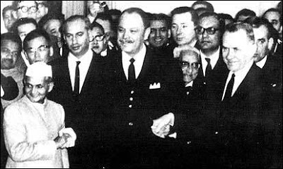 bhutto after ayub signed tashkent declaration with kosigyn & shastri