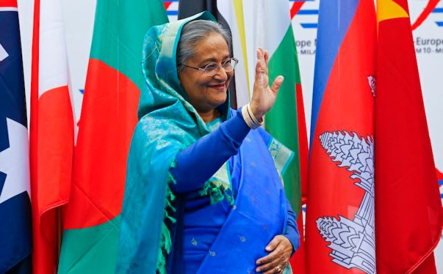 Bangladesh's Prime Minister Sheikh Hasina arrives for the Asia-Europe Meeting (ASEM) in Milan