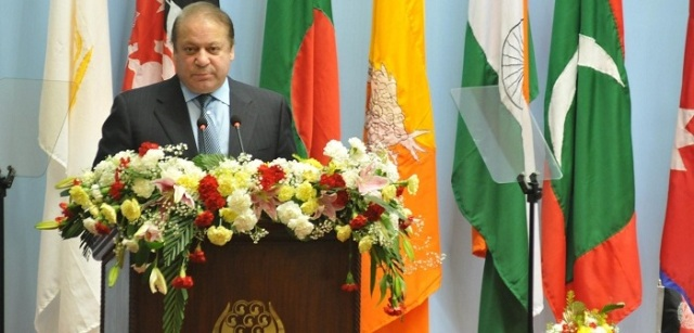 Kathmandu: Pakistan Prime Minister Nawaz Sharif addresses at the inaugural session of the 18th SAARC Summit, in Kathmandu, Nepal, on Nov 26, 2014.(Photo: IANS/DOI, Nepal)