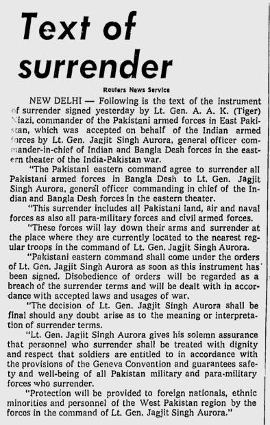 When The Tiger Of Pakistan Was Humbled By Surrender_The Miami News_Dec 17, 1971c