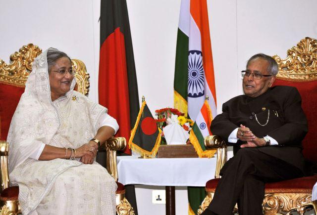India's President Mukherjee meets Bangladeshi PM Sheikh Hasina in Dhaka.
