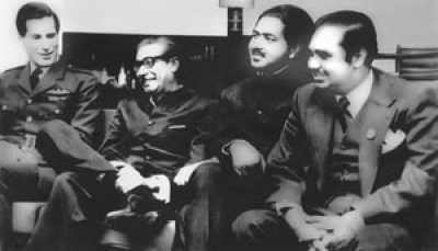At Nicosia airport, Cyprus, January 9, 1972, en route from London to Dhaka after release. (left to right)- Air Commodore David B Craig, UK Royal Air Force, Sheikh Mujibur Rahman, PM elect