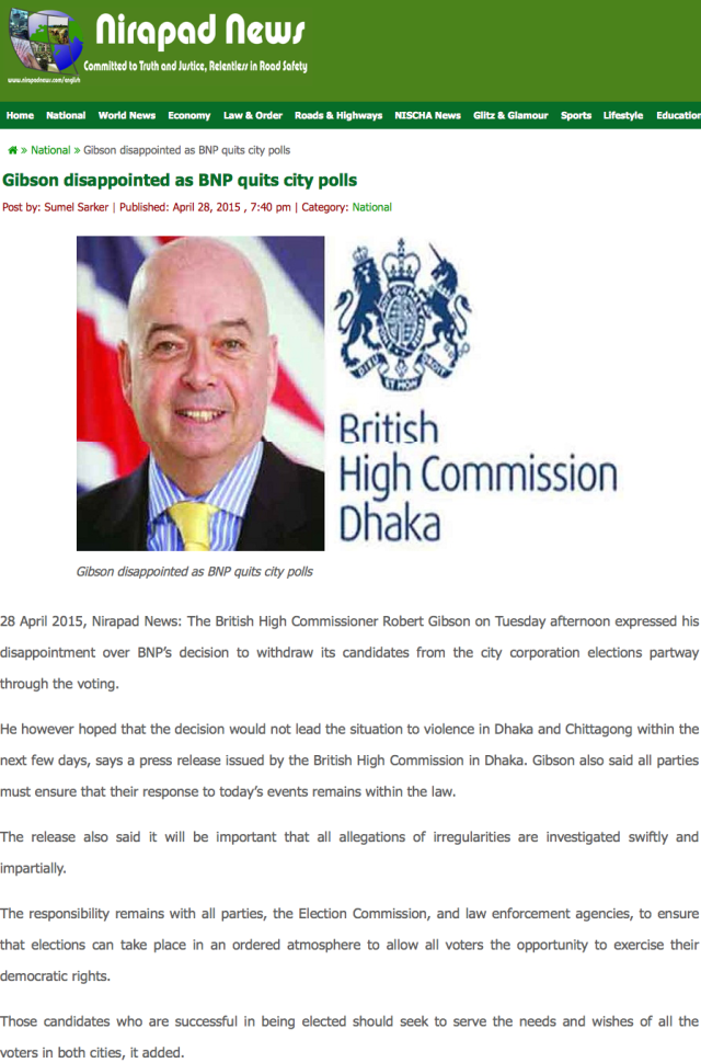 Gibson disappointed as BNP quits city polls