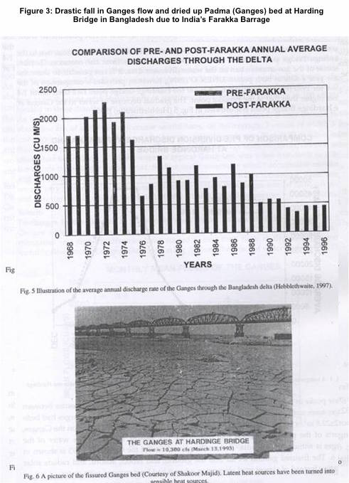 Figure 3- Drastic fall in Ganges flow and dried up Padma (Ganges) bed at Harding Bridge in Bangladesh due to India's Farakka Barrage
