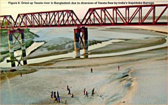 Figure 6- Dried up Teesta river in Bangladesh due to diversion of Teesta flow by India's Gajoldoba Barrage