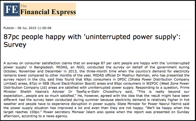 87pc people happy with 'uninterrupted power supply