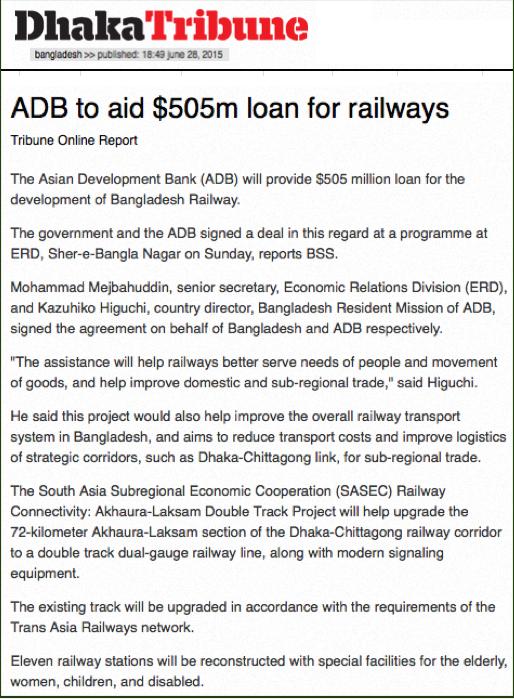 ADB to aid $505m loan for railways | Dhaka Tribune 2015-06-28 21-16-21