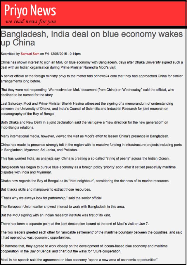 Bangladesh, India deal on blue economy wakes up China | Priyo News 2015-06-28 21-46-55