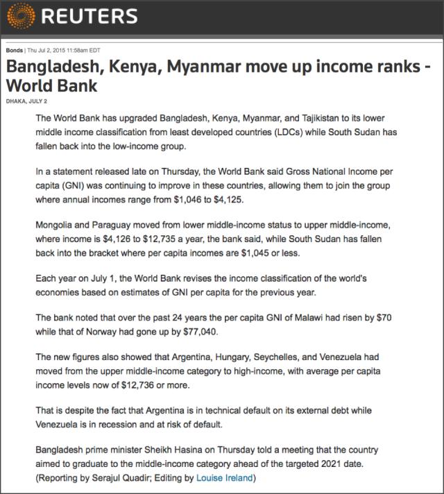 Bangladesh, Kenya, Myanmar move up income ranks - World Bank