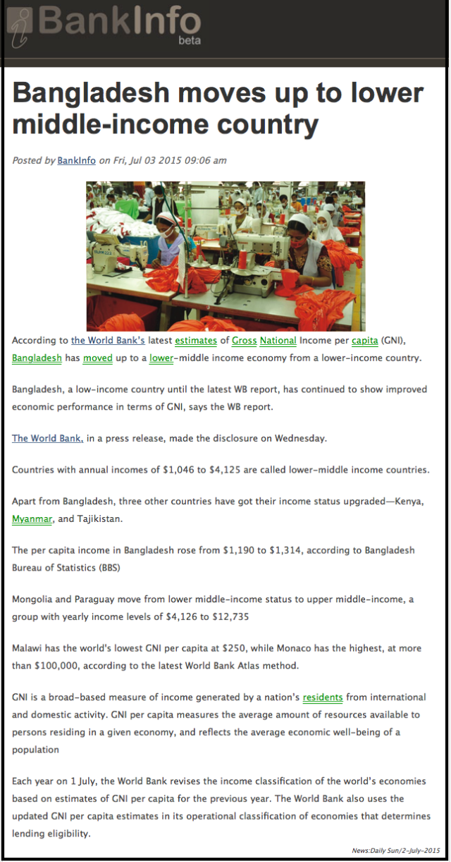 Bangladesh moves up to lower middle-income country