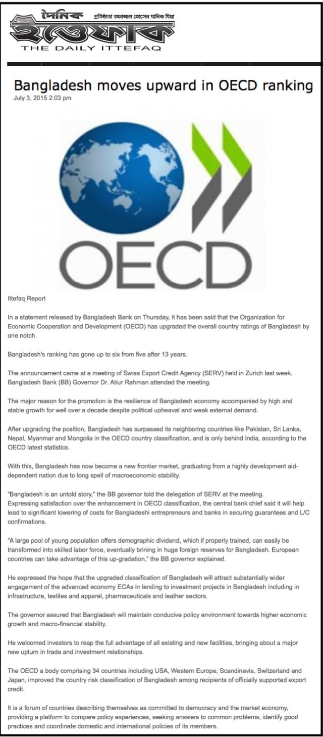 Bangladesh moves upward in OECD ranking