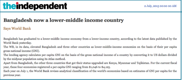Bangladesh now a lower-middle income country