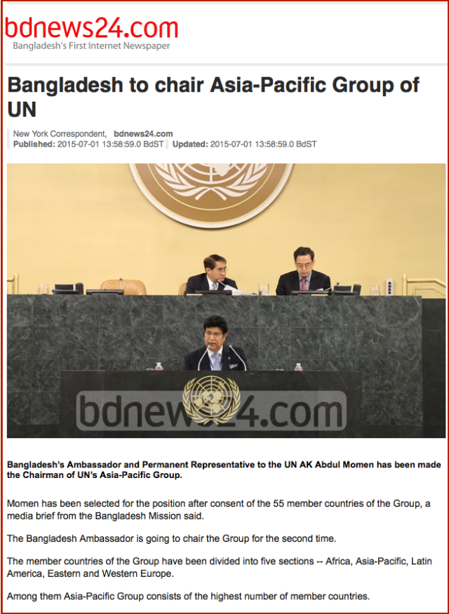 Bangladesh to chair Asia-Pacific Group of UN