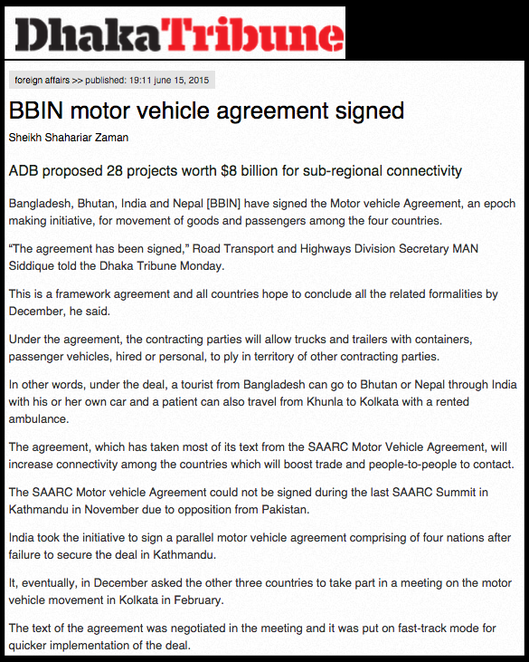 BBIN motor vehicle agreement signed   Dhaka Tribune