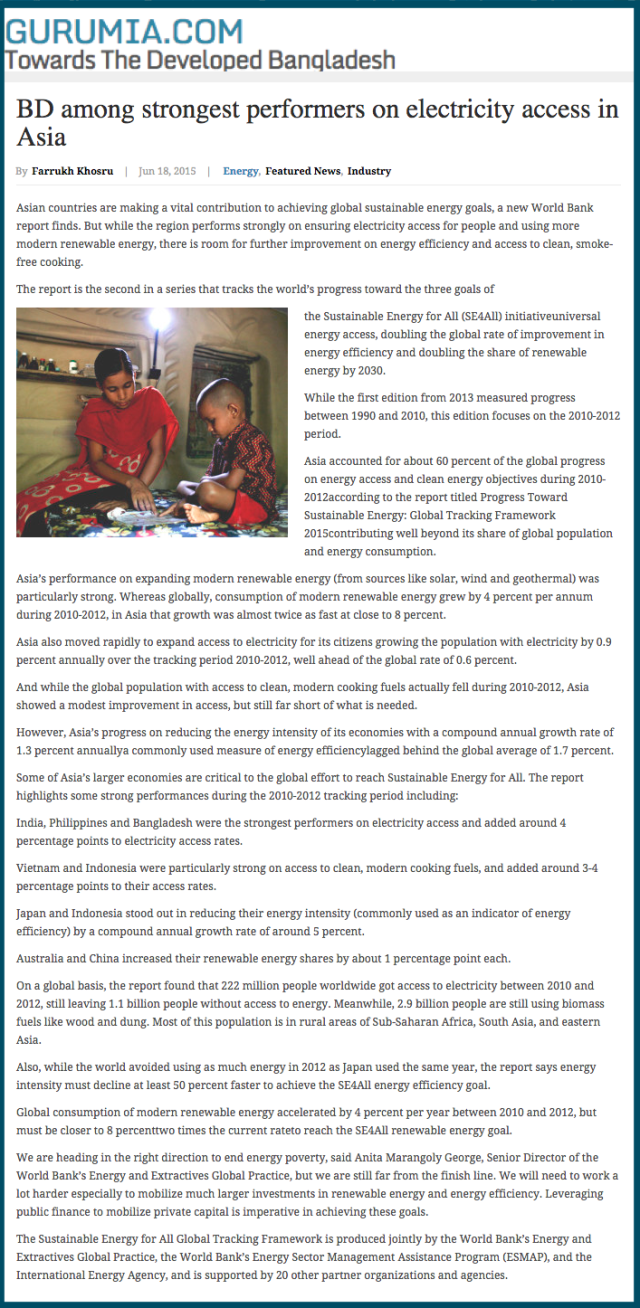 BD among strongest performers on electricity access in Asia   Bangladesh Development Reports