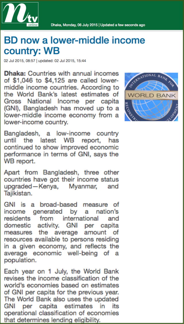BD now a lower-middle income country- WB 1