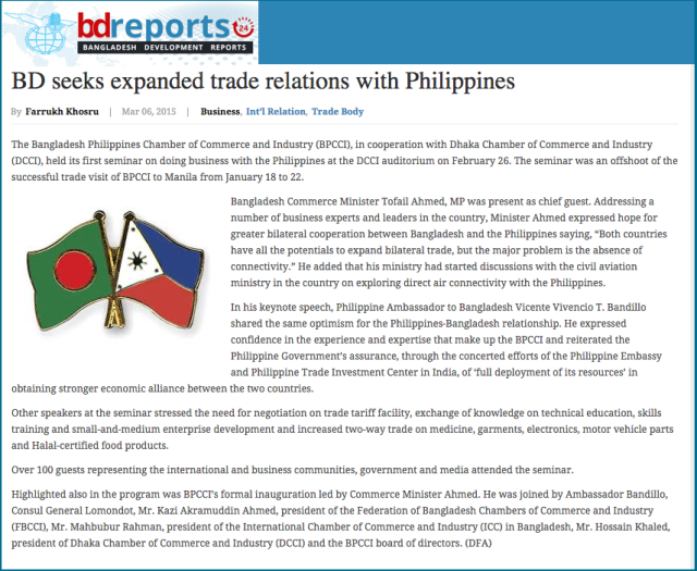 BD seeks expanded trade relations with Philippines   Bangladesh Development Reports