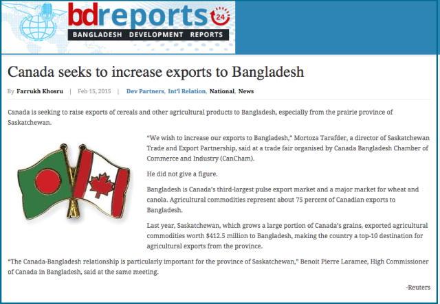 Canada seeks to increase exports to Bangladesh   Bangladesh Development Reports