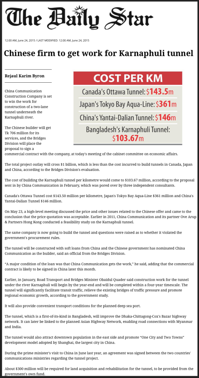 Chinese firm to get work for Karnaphuli tunnel