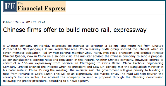 Chinese firms offer to build metro rail  expressway   24 News   The Financialexpress bd