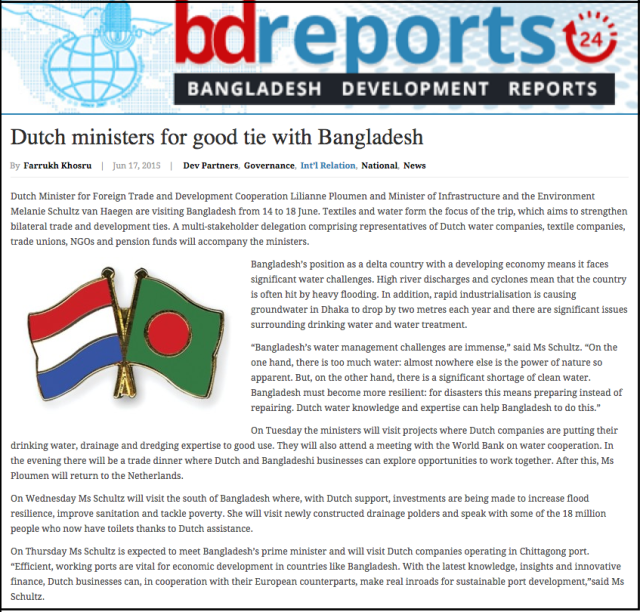 Dutch ministers for good tie with Bangladesh