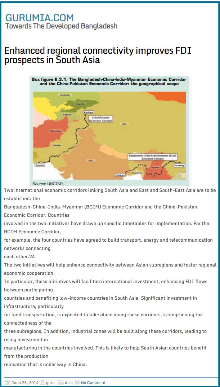 Enhanced regional connectivity improves FDI prospects in South Asia   GURUMIA.COM