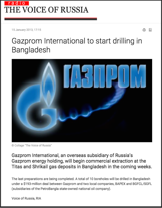 Gazprom International to start drilling in Bangladesh   News   Economy   The Voice of Russia  News  Breaking news  Politics  Economics  Business  Russia  International current events  Expert opinion  podcasts  Video