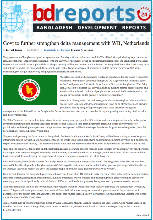 Govt to further strengthen delta management with WB  Netherlands   Bangladesh Development Reports
