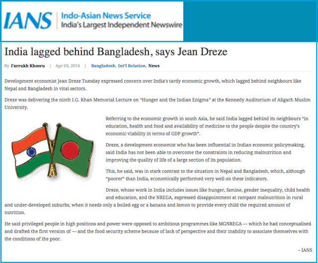 India lagged behind Bangladesh  says Jean Dreze   Bangladesh Development Reports