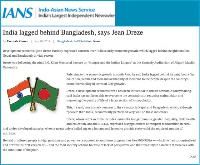 India lagged behind Bangladesh  says Jean Dreze   Bangladesh Development Reports