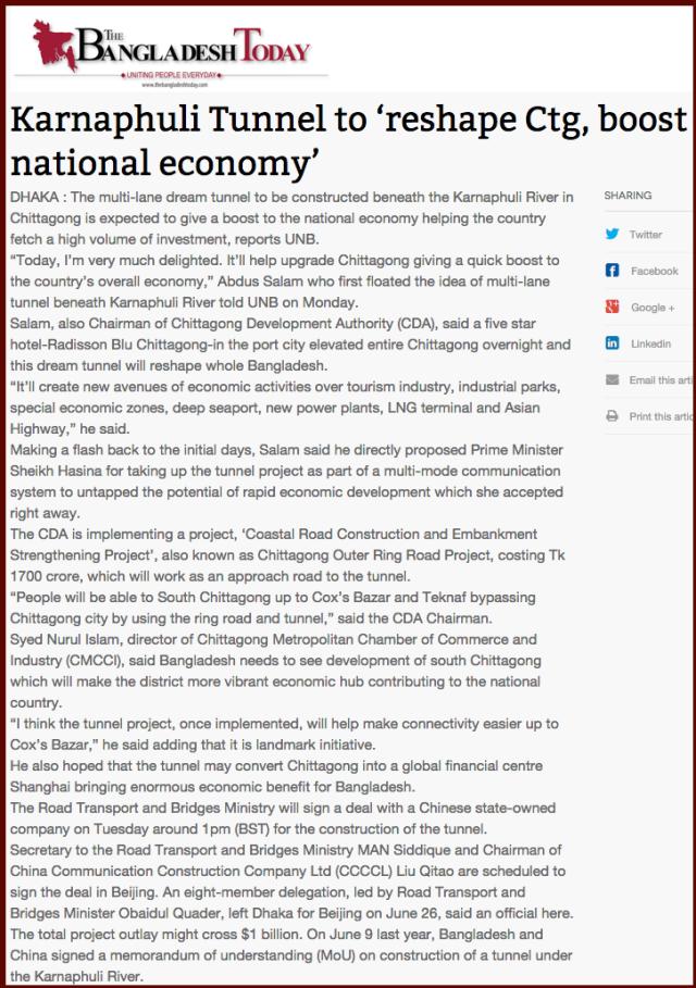 Karnaphuli Tunnel to 'reshape Ctg  boost national economy'   The Bangladesh Today