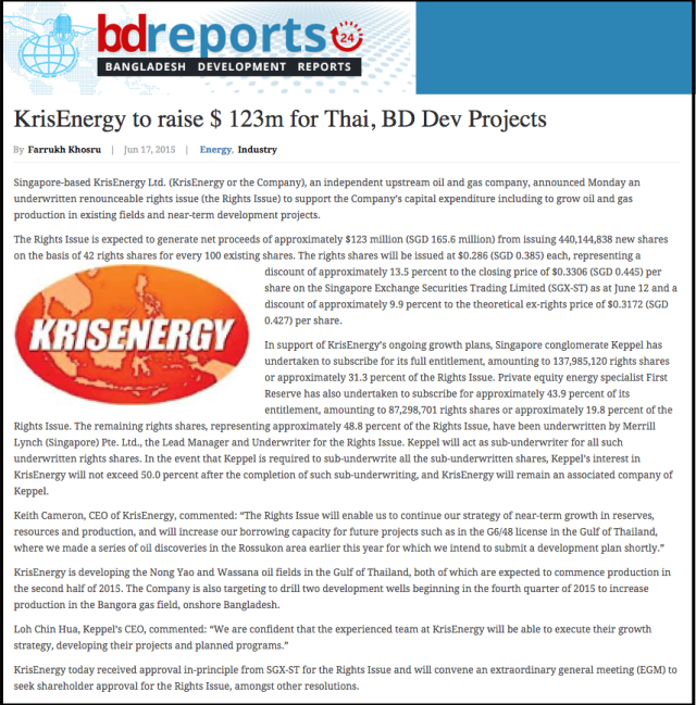 KrisEnergy to raise   123m for Thai  BD Dev Projects   Bangladesh Development Reports