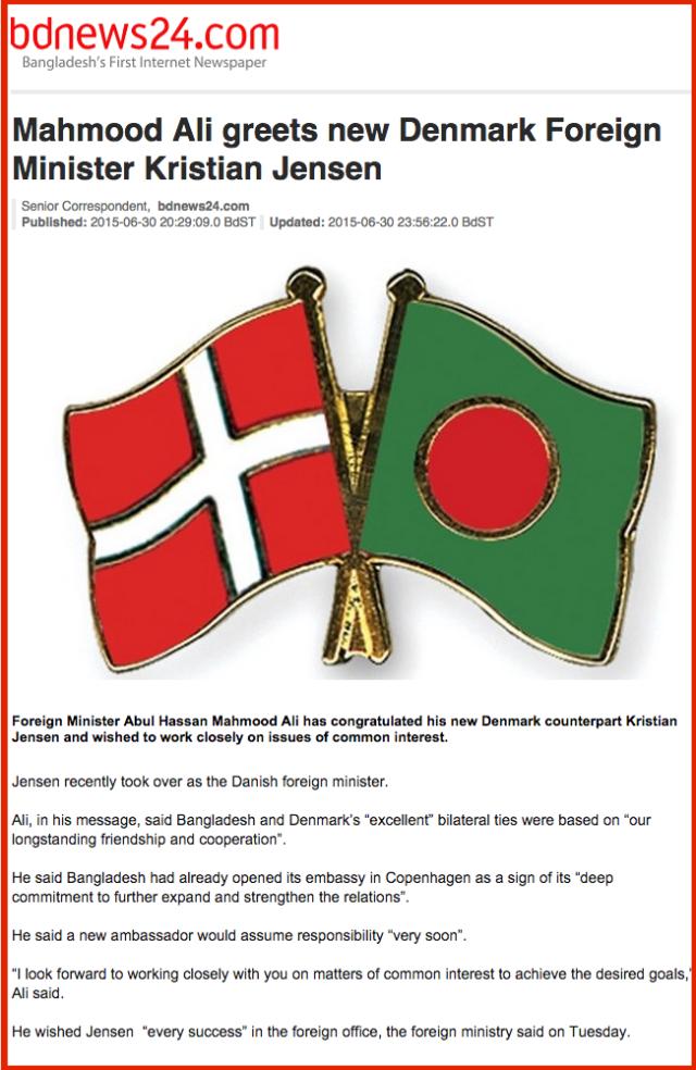Mahmood Ali greets new Denmark Foreign Minister Kristian Jensen   bdnews24.com