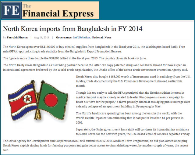 North Korea imports from Bangladesh in FY 2014   Bangladesh Development Reports