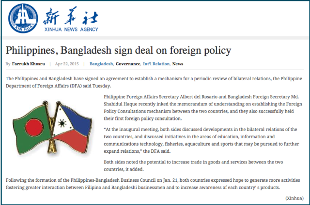Philippines  Bangladesh sign deal on foreign policy   Bangladesh Development Reports