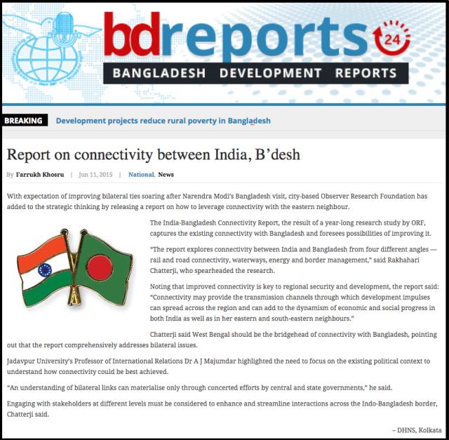 Report on connectivity between India  B'desh   Bangladesh Development Reports