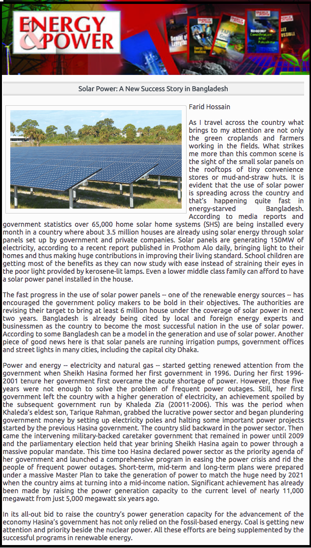 Solar Power  A New Success Story in Bangladesh
