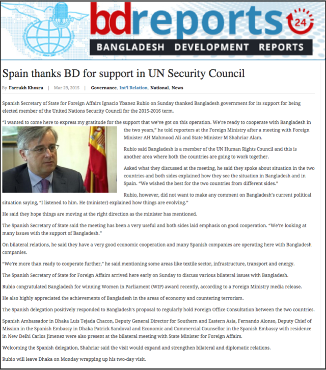 Spain thanks BD for support in UN Security Council