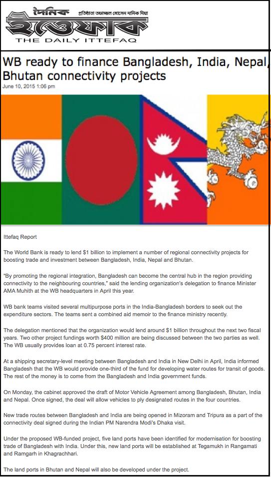 WB ready to finance Bangladesh, India, Nepal, Bhutan connectivity projects