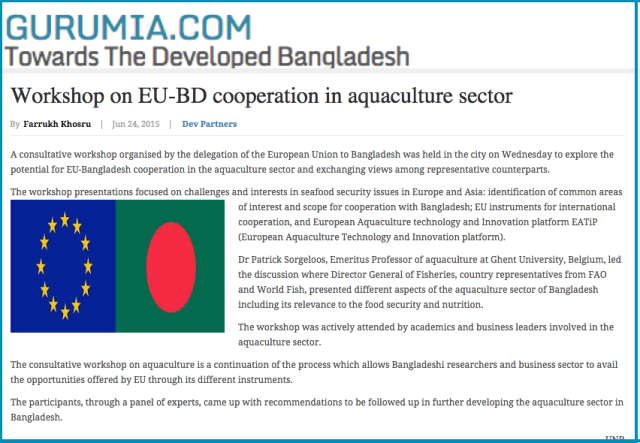 Workshop on EU BD cooperation in aquaculture sector   Bangladesh Development Reports