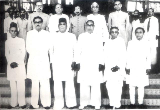 1954 Jukta Front Cabinet Members, From left(front) - Khairat Hossain, Sheikh Mujibur Rahman