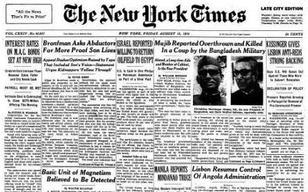 1975 nyt Reported death of SHEIKH mujib
