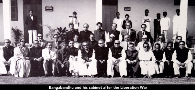 Bangabandhu and his cabinet after the Liberation War