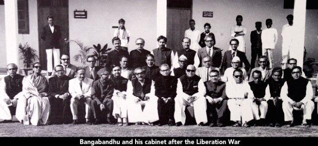 Bangabandhu and his cabinet after the Liberation War