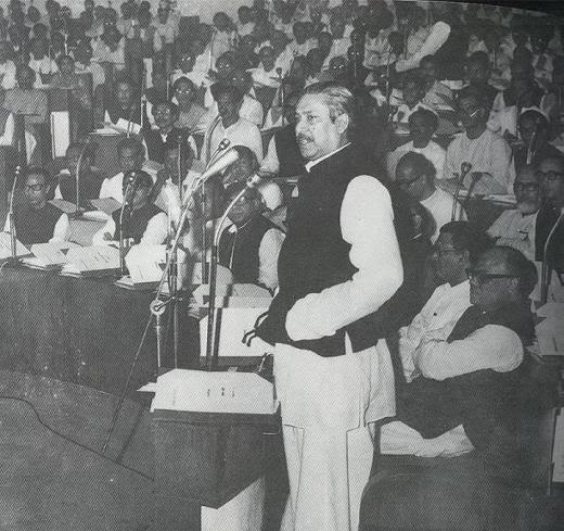 Bangabandhu Sheikh Mujibur Rahman addressing the Constituent Assembly