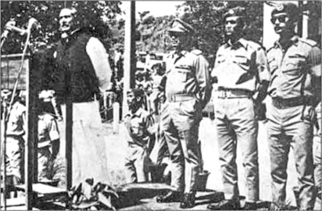 Bangabandhu Sheikh Mujibur Rahman speaks at the inauguration of Comilla Military Academy in 1973. Maj Zia