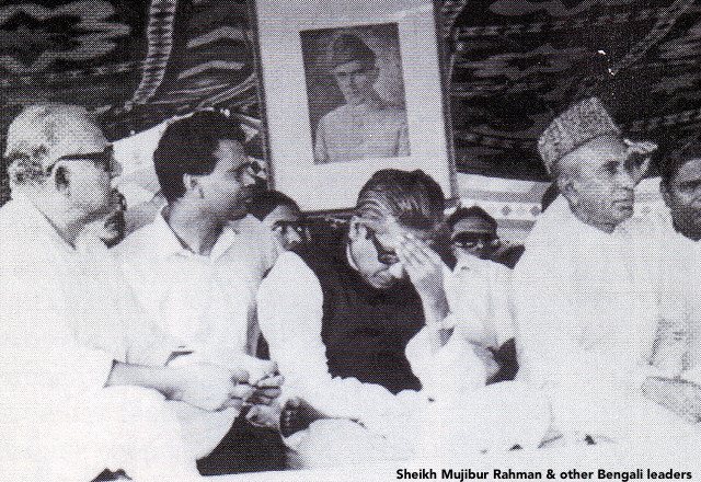 Sheikh Mujibur Rahman & other Bengali leaders in Dhaka in 1971