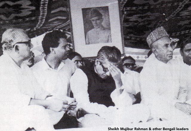 Sheikh Mujibur Rahman & other Bengali leaders in Dhaka in 1971